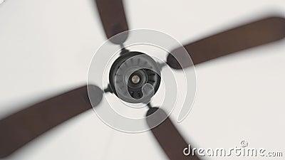 Fan che gira sul soffitto bianco per circolazione di aria vicino su Ventilatore da soffitto elettrico per ventilazione ed il raff archivi video
