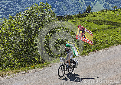 Fan of the Cyclist Valverde Editorial Stock Image