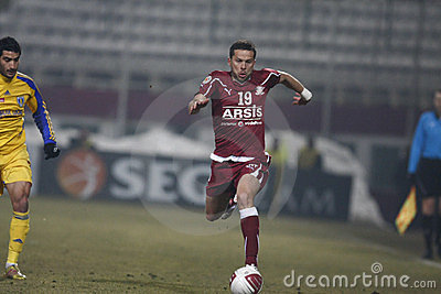Fan de futebol rápidos de Bucareste Foto Editorial