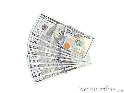 Fan of 100 dollars greenbacks.