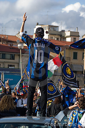 Fan of fotball club internazionale of milan group Editorial Photo