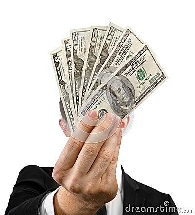 Fan of money in the hands
