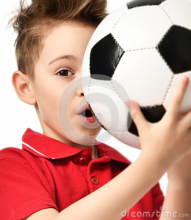 Free Fan Sport Boy Player Hold Soccer Ball In Red T-shirt Celebrating Happy Surprised Royalty Free Stock Photography - 111056557