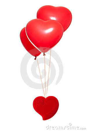 Fancy Box With A Red Heart-shaped Balloon Stock Image - Image: 22913891