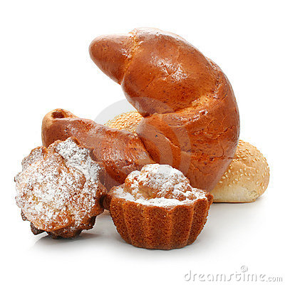 Free Fancy Cakes And Croissant Isolated Stock Image - 7234521