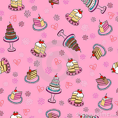 Free Fancy Cakes Seamless Repeat Pattern Stock Photos - 6857013
