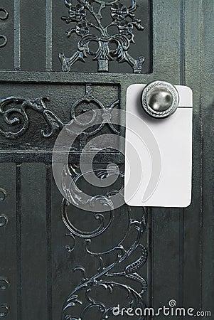 Fancy door with sign hanger