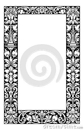 Fancy floral filagree frame vector illustration