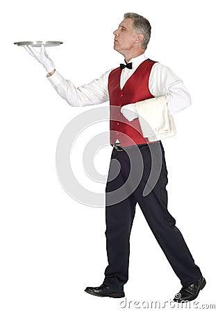 Fancy Head Waiter Holding Tray, Isolated