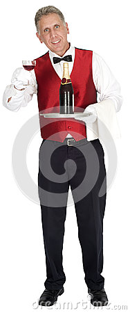 Fancy Head Waiter Holding Wine Bottle Isolated
