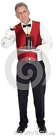 Fancy Head Waiter Holding Wine Bottle Isolated