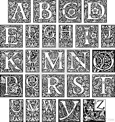 Vector illustration of flourish initials, best for decoration and ...