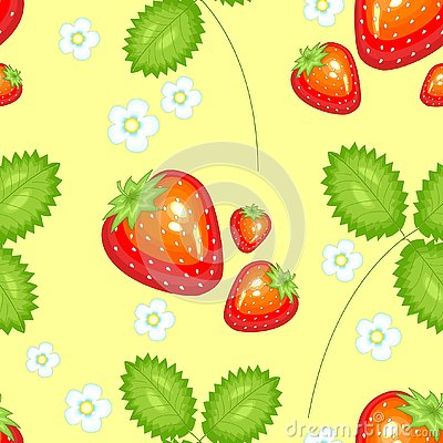 A fancy pattern. Ripe beautiful strawberries. Suitable as wallpaper in the kitchen, as a background for packing food, textiles in Cartoon Illustration