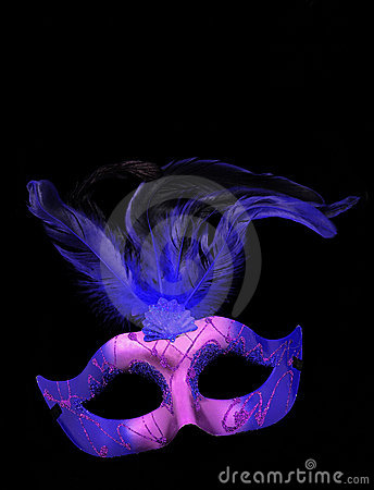 Free Fancy Purple And Blue Feathered Mask Royalty Free Stock Photography - 22811677