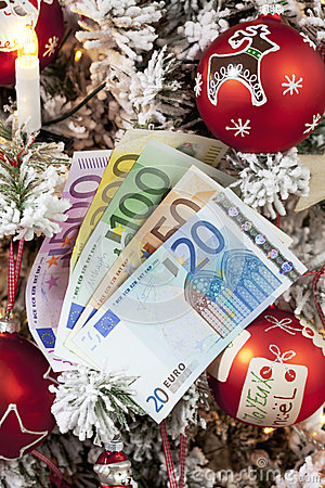 Free Fanned Euro Notes Close Up Christmas Tree In Background Royalty Free Stock Photography - 50492067