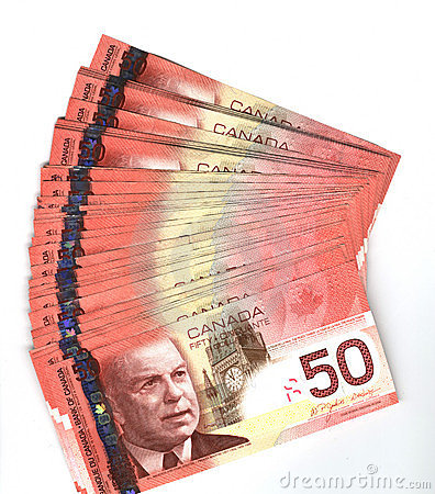 Fanned out Canadian fifty dollar bills