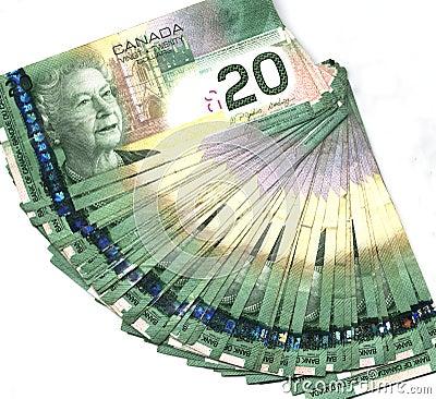 Fanned out Canadian twenty dollar bills