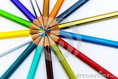 Fanned pencils