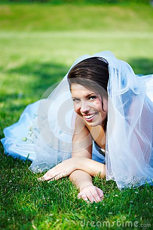 Fanny bride on the grass