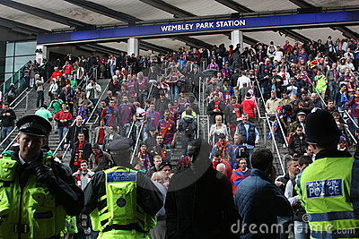Fans arriving at the Wembley stadium in London Editorial Image