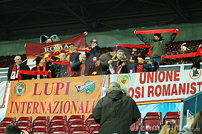 Fans of AS Roma at a match Editorial Image