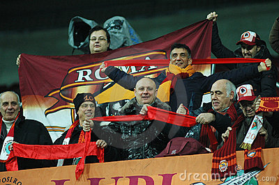 Fans of AS Roma at a match Editorial Stock Image