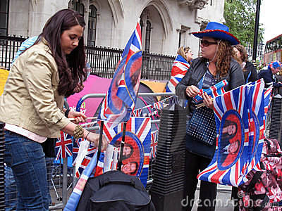 Fans of British Royal Dynasty 2011 Editorial Stock Photo