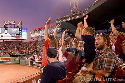 Fans cheer at historic Fenway Park Editorial Stock Photo