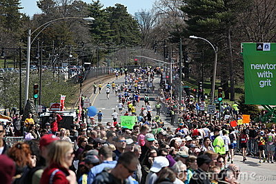 Fans cheer on runners Editorial Photography