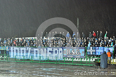 Fans of Dnipro team on the sector Editorial Image