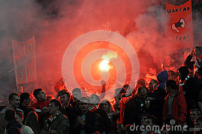 Fans lit fireworks in the stands Editorial Stock Image
