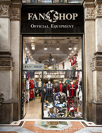 Fans Shop, official equipment, Milan Editorial Stock Photo