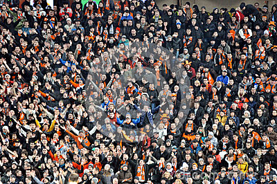 Fans and supporters on one sector Editorial Photo