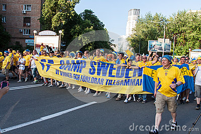 Fans of the Swedish national team Editorial Stock Image