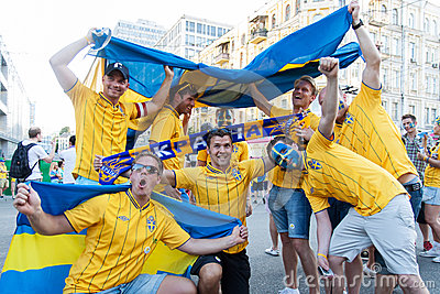 Fans of the Swedish national team Editorial Stock Photo