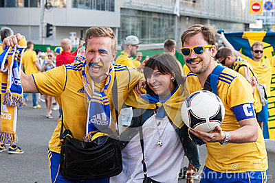 Fans of the Swedish national team Editorial Image