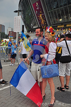 Fans of the two countries are photographed Editorial Photo