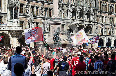 Fans at the UEFA Champions League Finale in Munich Editorial Stock Photo