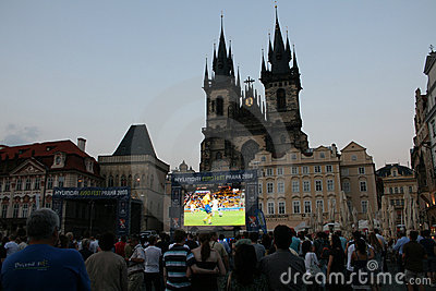 Fans watching football in Prague Editorial Photography