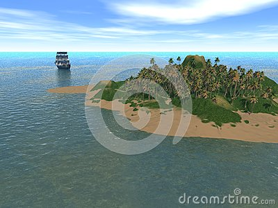 Fantastic island  with ship