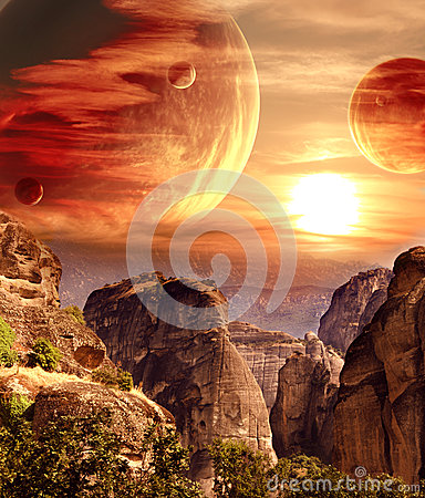 Free Fantastic Landscape With Planet, Mountains, Sunset Royalty Free Stock Photography - 65591427