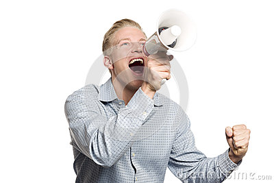 Overjoyed business person shouting with megaphone.