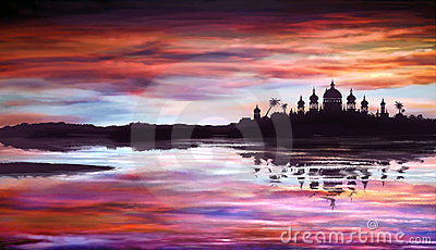 Fantastic oriental temple over water