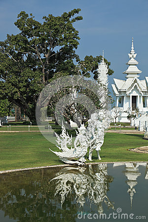 Fantastic palace reflected in a pond