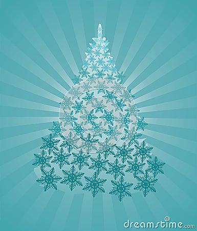Fantastic tur-tree in crystal snowflakes
