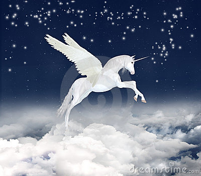 Fantastic unicorn in sky
