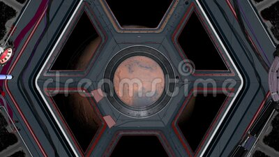 Fantastischer SciFi-Korridor eines Raumschiffs Vom Fenster aus sieht man den Mars-Planeten Elemente dieses Videos, die von stock footage