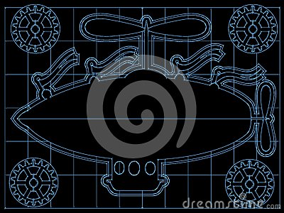Fantasy Airship Blueprint Gears, Flags outline on