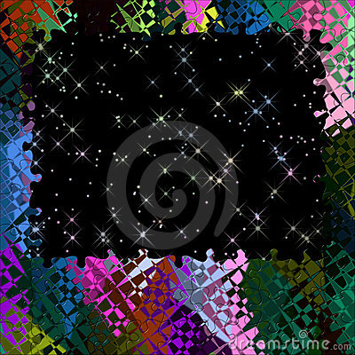 Fantasy Background Multi Color Puzzle Frame Stars