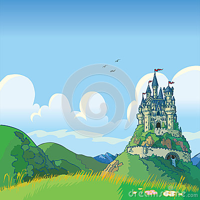 Free Fantasy Background With Castle Vector Cartoon Royalty Free Stock Photography - 36322097